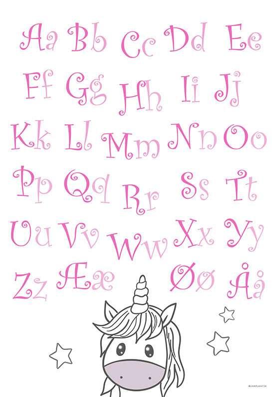 ABC plakat med enhjørning og bogstaver til pige