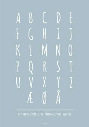 ABC plakat med hvide bogstaver og baggrund