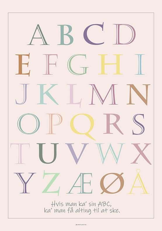 ABC plakat med stjerne champagne bogstaver
