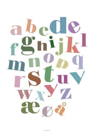 ABC plakat med skæve farvede bogstaver