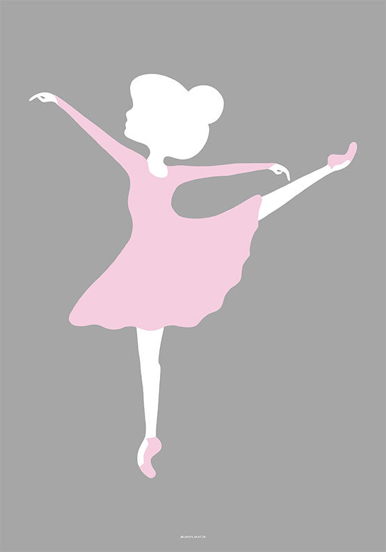 Yndig plakat med ballerina med løftet ben