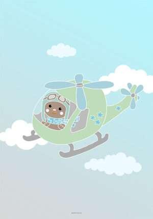 Plakat til dreng med bamse i helikopter