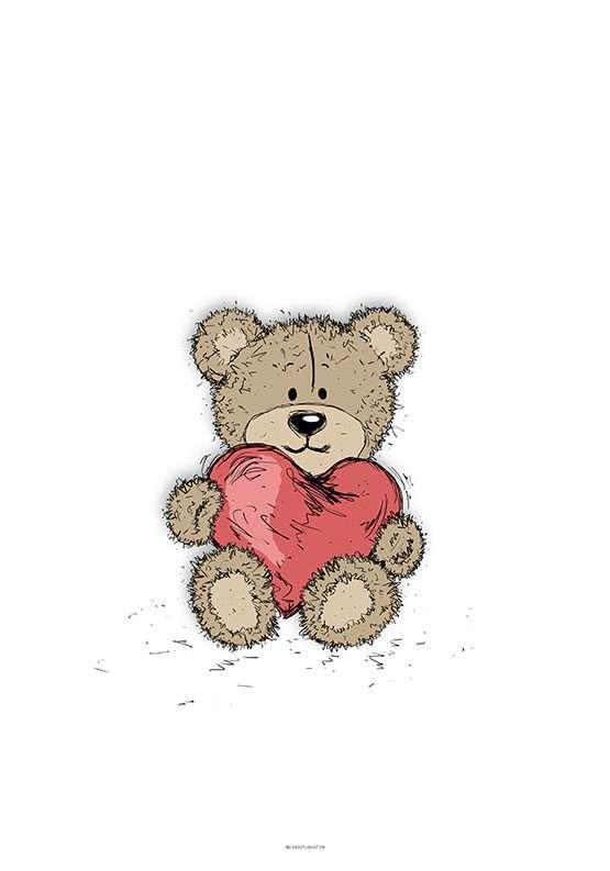 Bamse med hjerte plakat