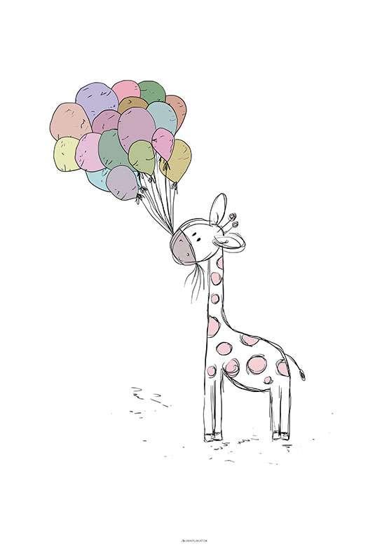Giraf med balloner plakat