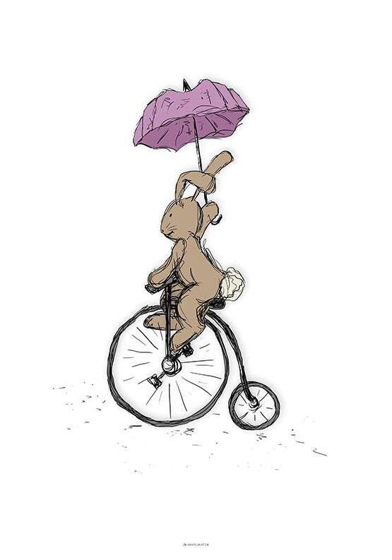 Kanin med paraply plakat