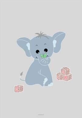 Elefant plakat til drengeværelse