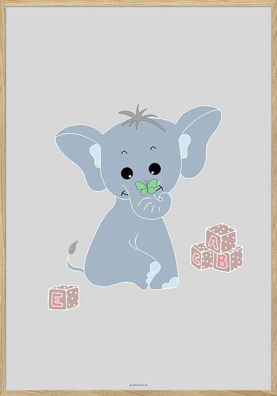Plakat med elefant og legeklodser