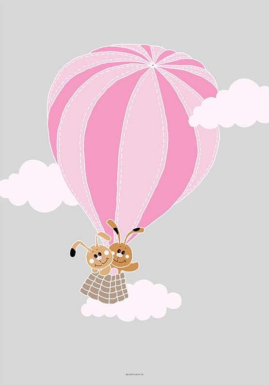 Plakat med et par kaniner i luftballon til pige