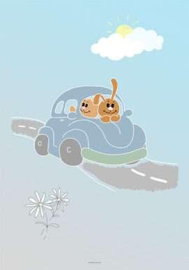 Plakat med kaniner på køretur til dreng