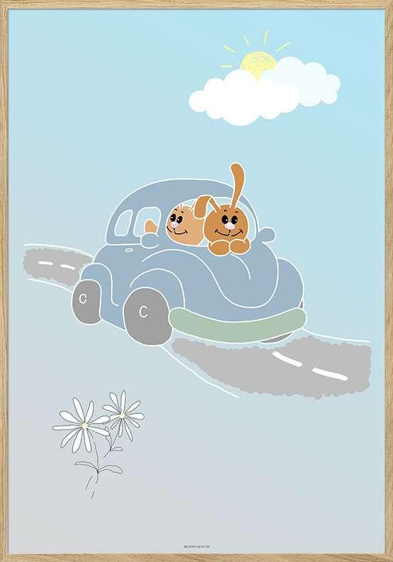 Børneplakat med kaniner i VW bobbel