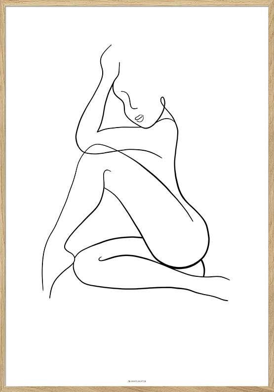 Line art woman plakat