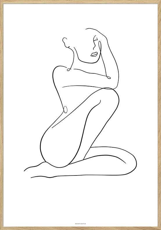 Line art woman poster