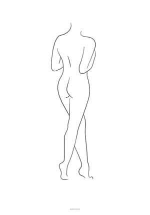 Line art woman standing plakat