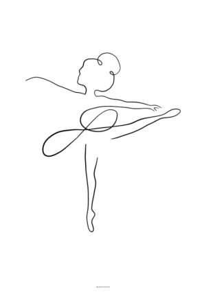 One line drawing - Ballerina plakat