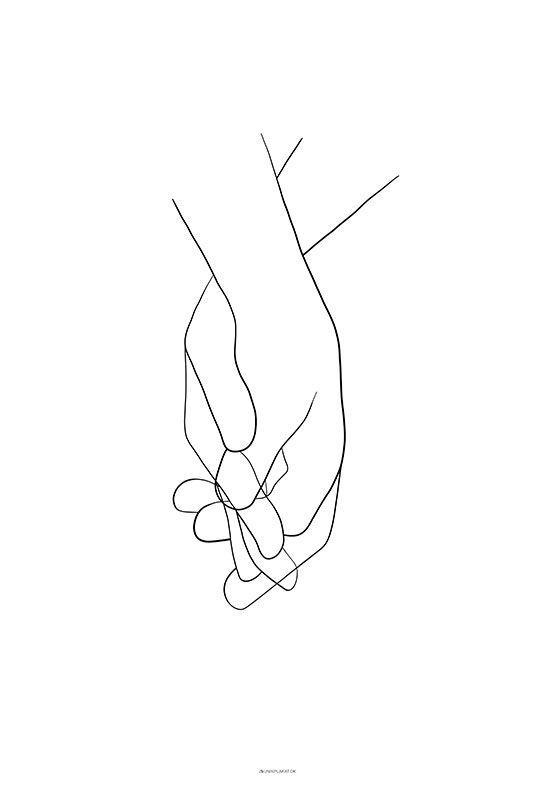One line drawing - Holding hands plakat