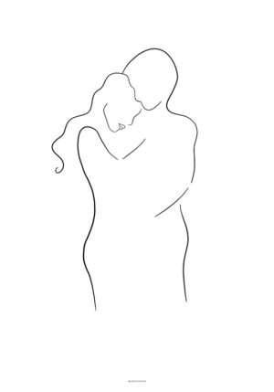 One line drawing - Hug plakat