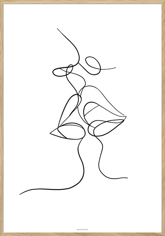 One line drawing - Kiss plakat