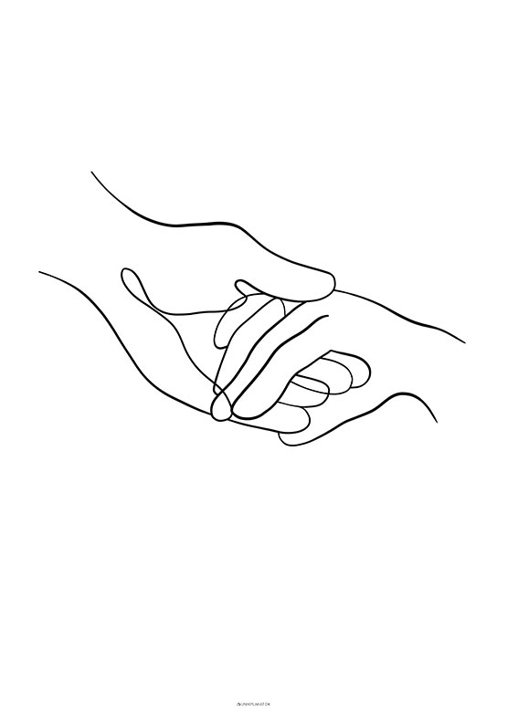 One line drawing - Take my hands plakat