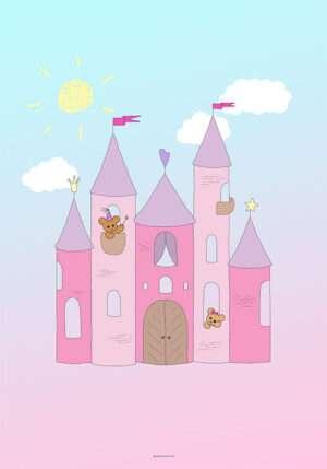 Plakat med prinsesseslot og bamser