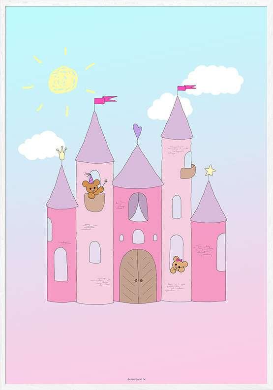 Plakat med prinsesseslot med bamser