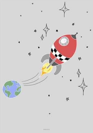 Raket plakat med farver