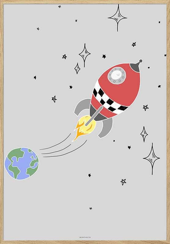 Børneplakat med rumraket