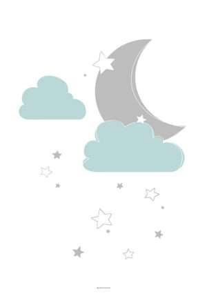 Skyer måne og stjerner