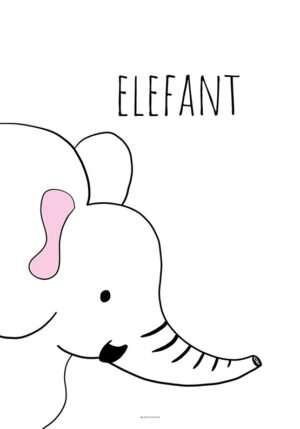 Plakat med sort hvid elefant