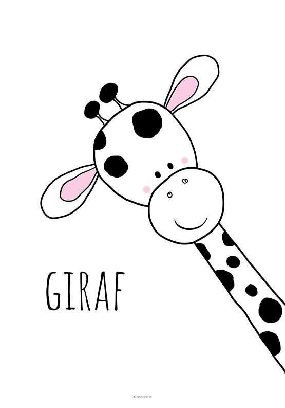 Plakat med sort hvid giraf