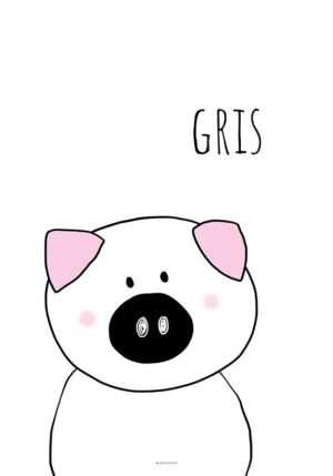 Plakat med sort hvid gris