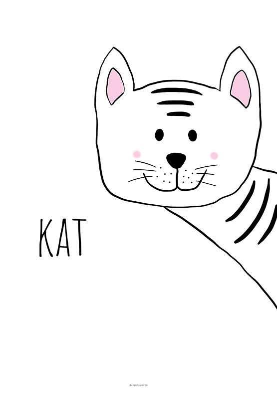 Plakat med kat til børneværelset