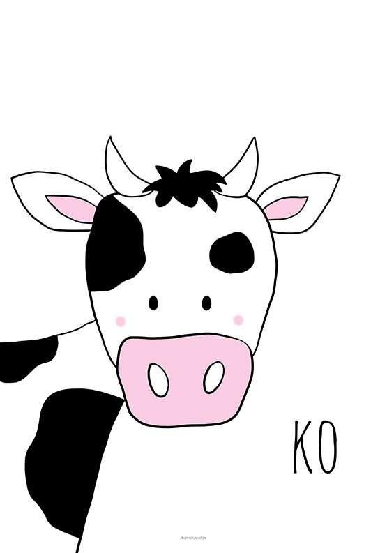 Plakat til børneværelset med ko