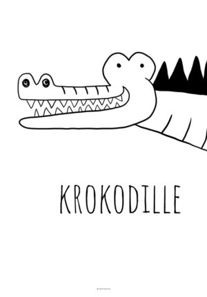 Plakat med sort hvid krokodille