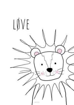 Løveplakat sort hvid