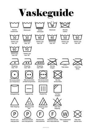 Vaskeplakat med symboler