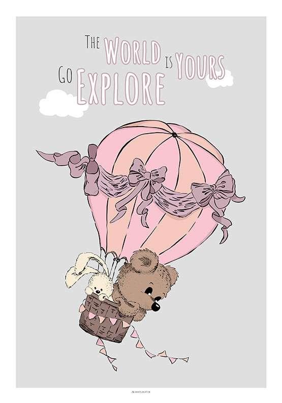 Bamse og kanin i luftballon