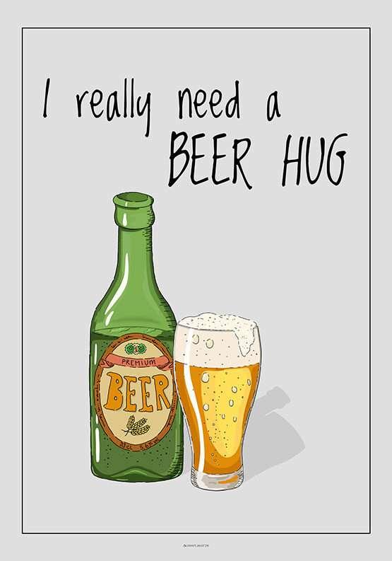 Ølplakat - Beer hug