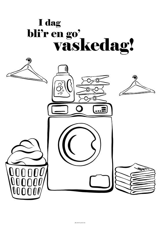 Vaskeplakat med redskaber