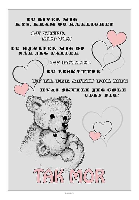 Mors dag plakat med bamser