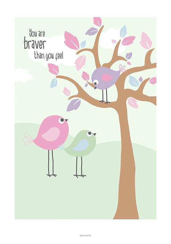 Børneplakat med tre fugle