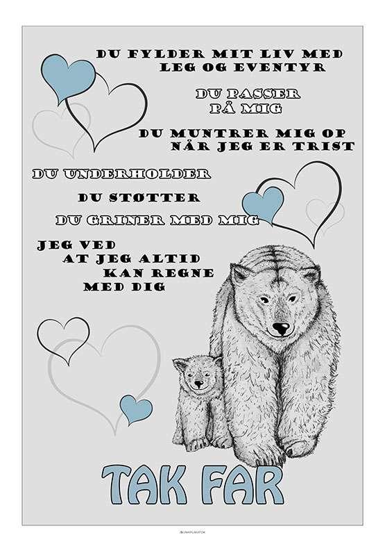 Fars dag plakat med bjørne
