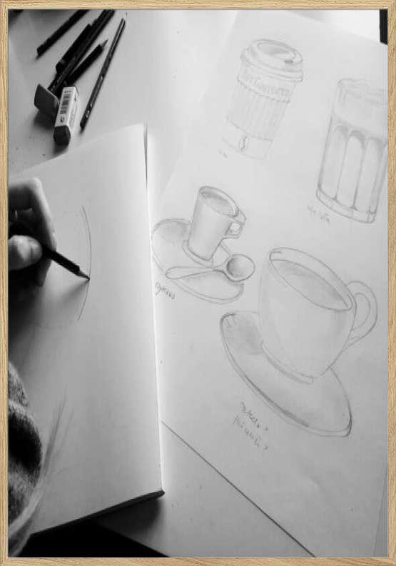 Skitser til kaffeplakater