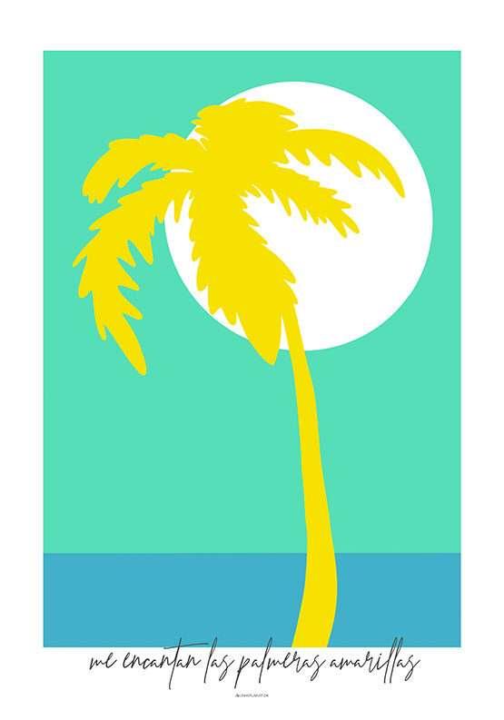 Kunstplakat med gul palme