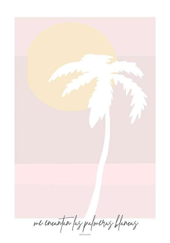 Kunstplakat med hvid palme