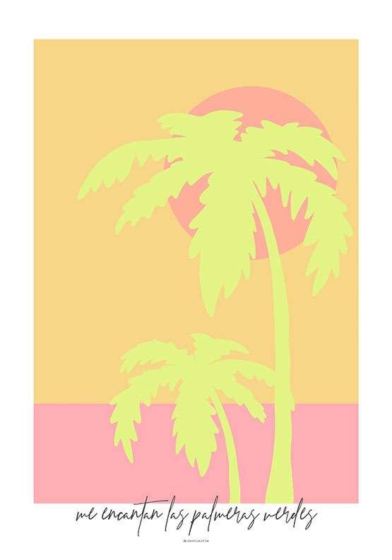 Kunstplakat med to limegrønne palmer