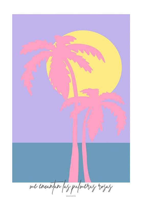 Kunstplakat med to lyserøde palmer