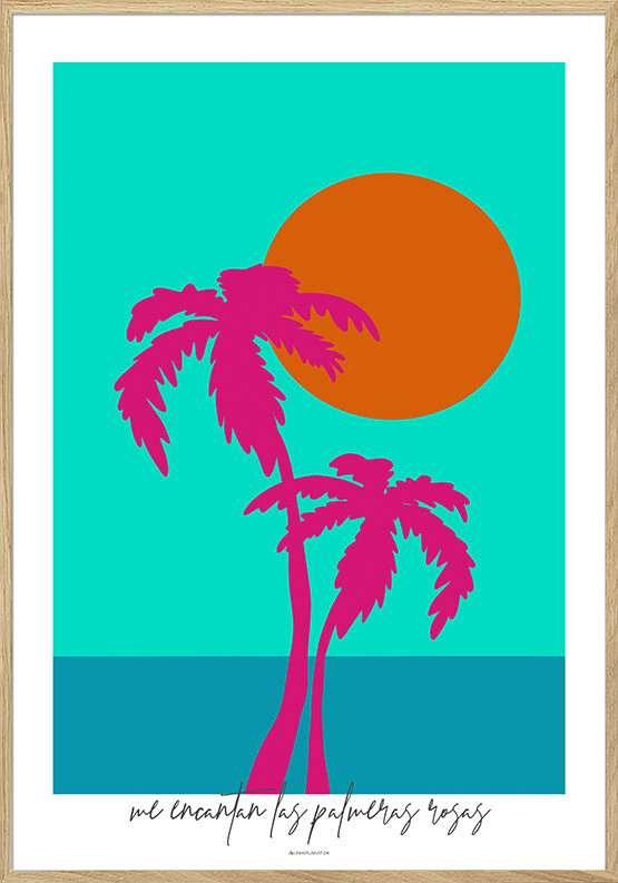 Kunstplakat med to pink palmer