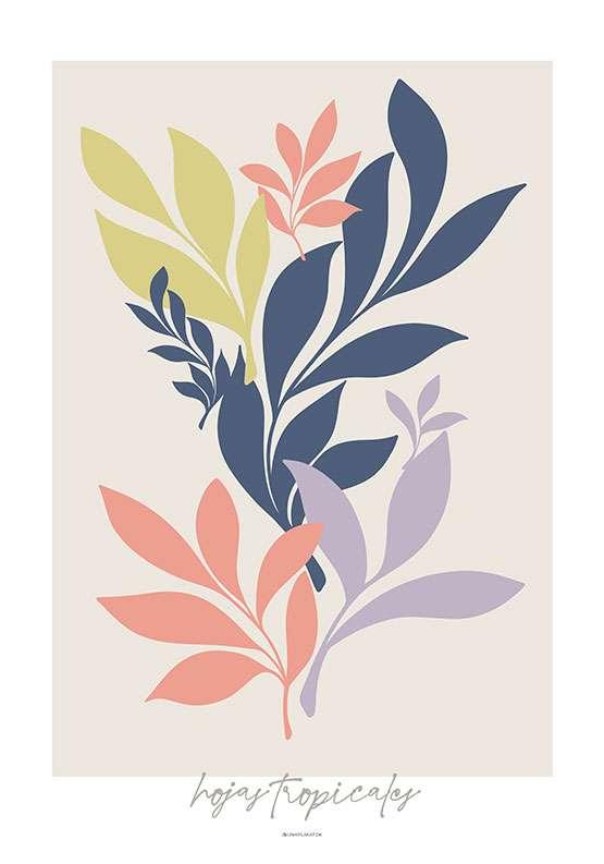 Kunstplakat med tropiske blade