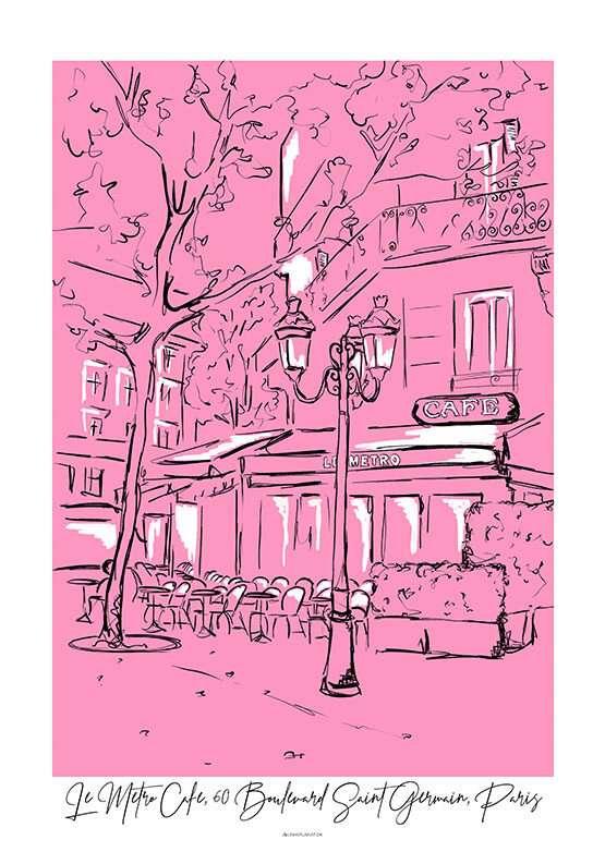 Plakat med cafe i Paris