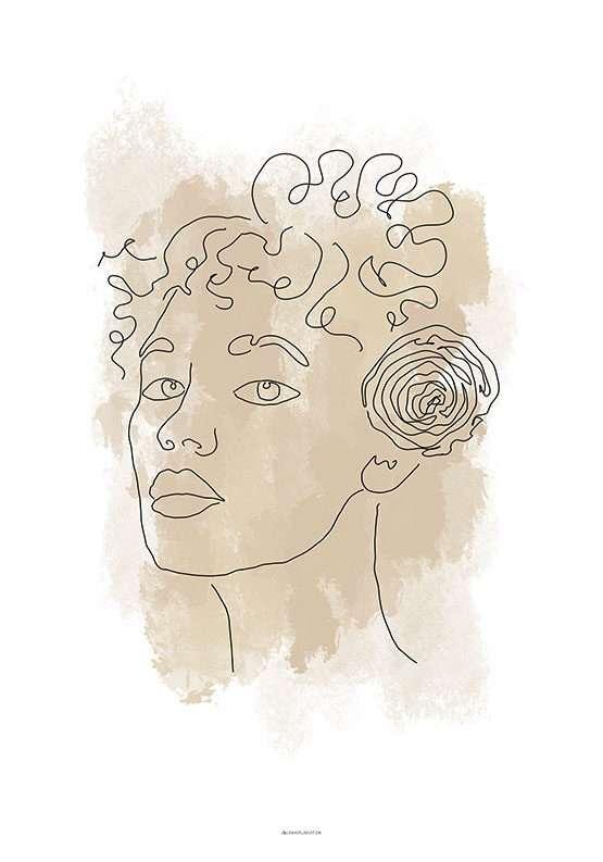 Stregtegning - Kvinde med blomst
